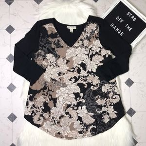 NWT Dana Buchman long sleeve flower blouse size S